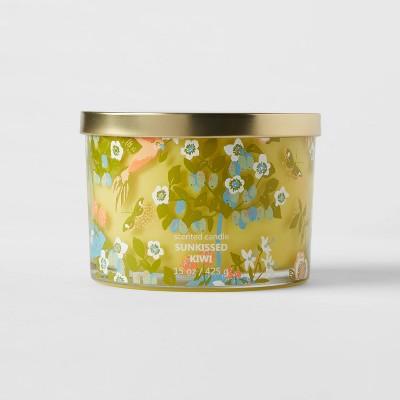 15oz Lidded Glass Jar Floral Bird Print Sunkissed Kiwi Candle - Opalhouse™
