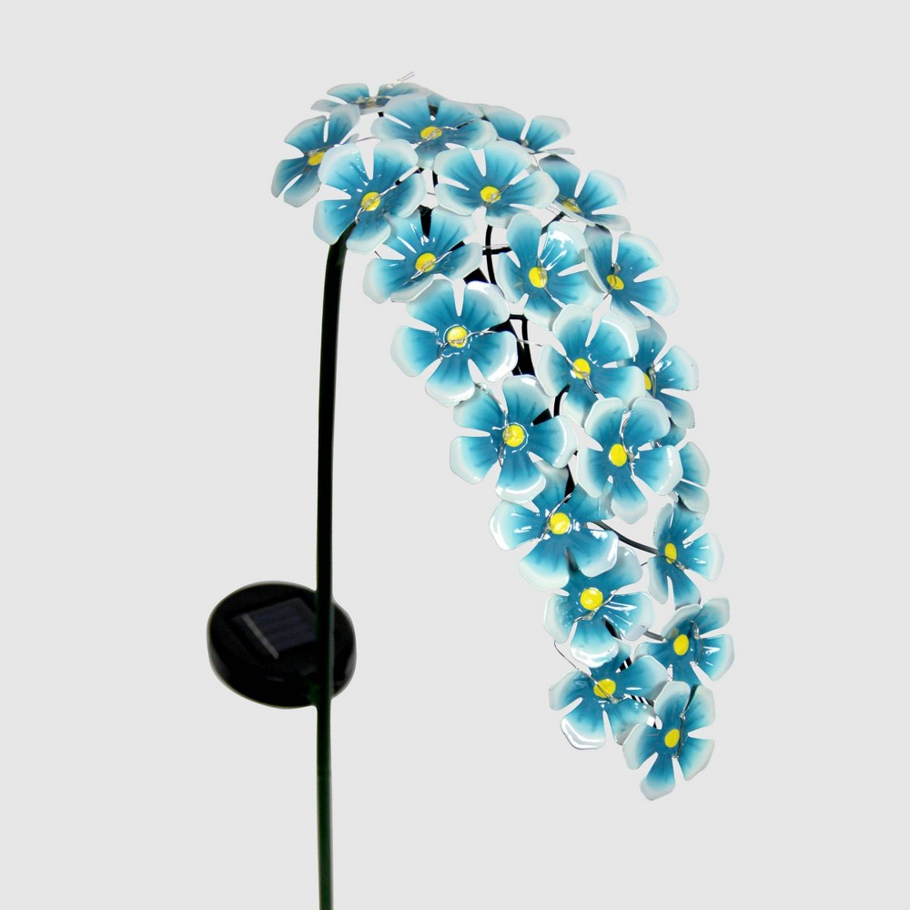 "Image of ""28"""" Solar Metal Hanging Flower Garden Stake Turquoise - Exhart, Blue"""
