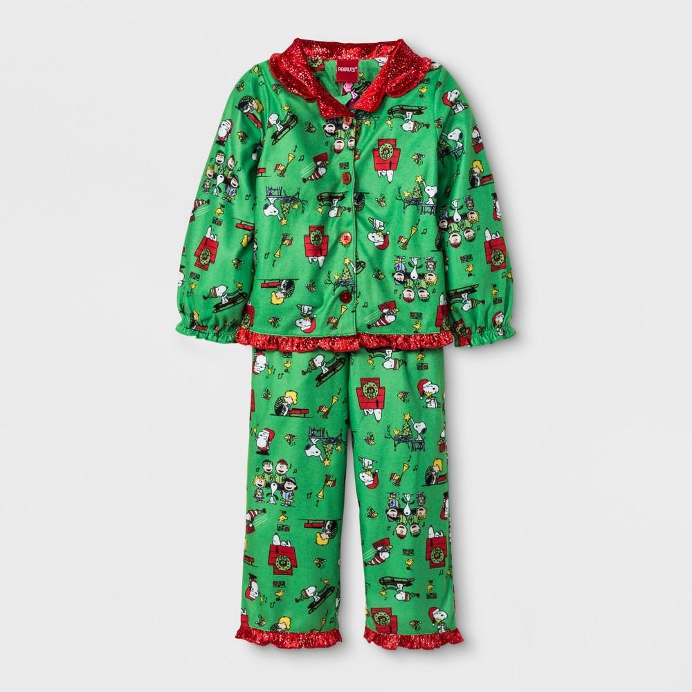Toddler Girls Peanuts Coat 2pc Pajama Set Green 4t