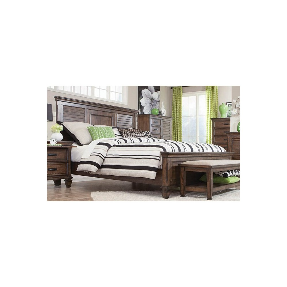 Image of California King Farmhouse Chateau Panel Bed Burnished Oak - Private Reserve, Burnished Brown