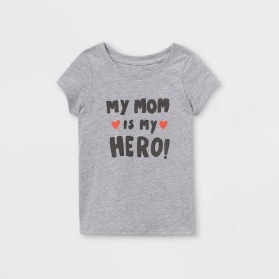 Toddler Girls' 'Mom Is My Hero' Short Sleeve T-Shirt - Cat & Jack™ Light Gray