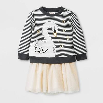 Baby Girls' Swan Tutu Top & Bottom Set - Cat & Jack™ Gray/Cream Newborn