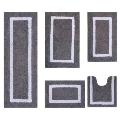5pc Hotel Collection Bath Rug Set Gray/White - Better Trends