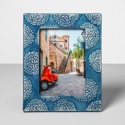 5  x 7  Stoneware Frame with Crackle Glaze Finish Blue - Opalhouse™