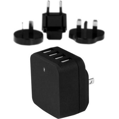 StarTech.com Travel USB Wall Charger - 4 Port - Black - Universal Travel Adapter - International Power Adapter - USB Charger