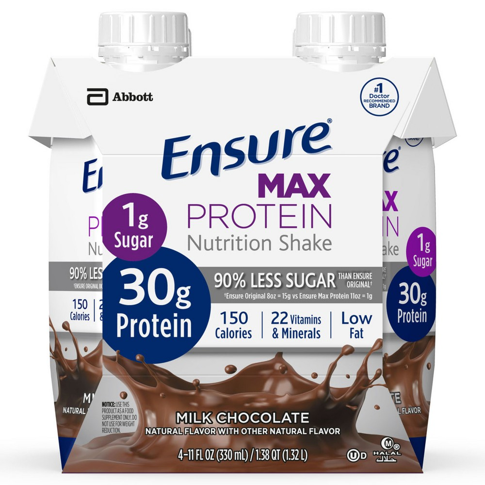Ensure Max Protein Nutritional Shake - Chocolate - 11.2 fl oz/4pk Bottles