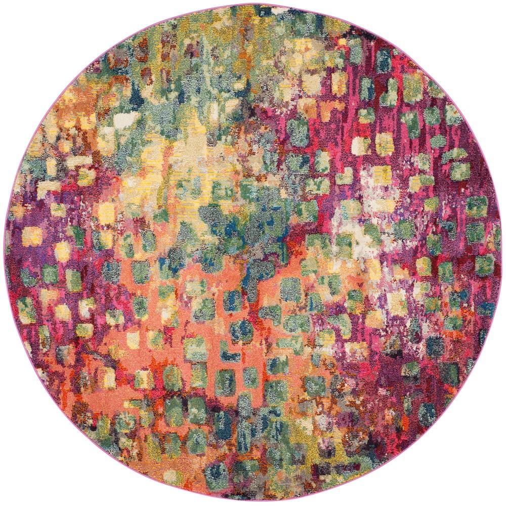 Splatter Loomed Round Area Rug 9' - Safavieh, Pink/Multi