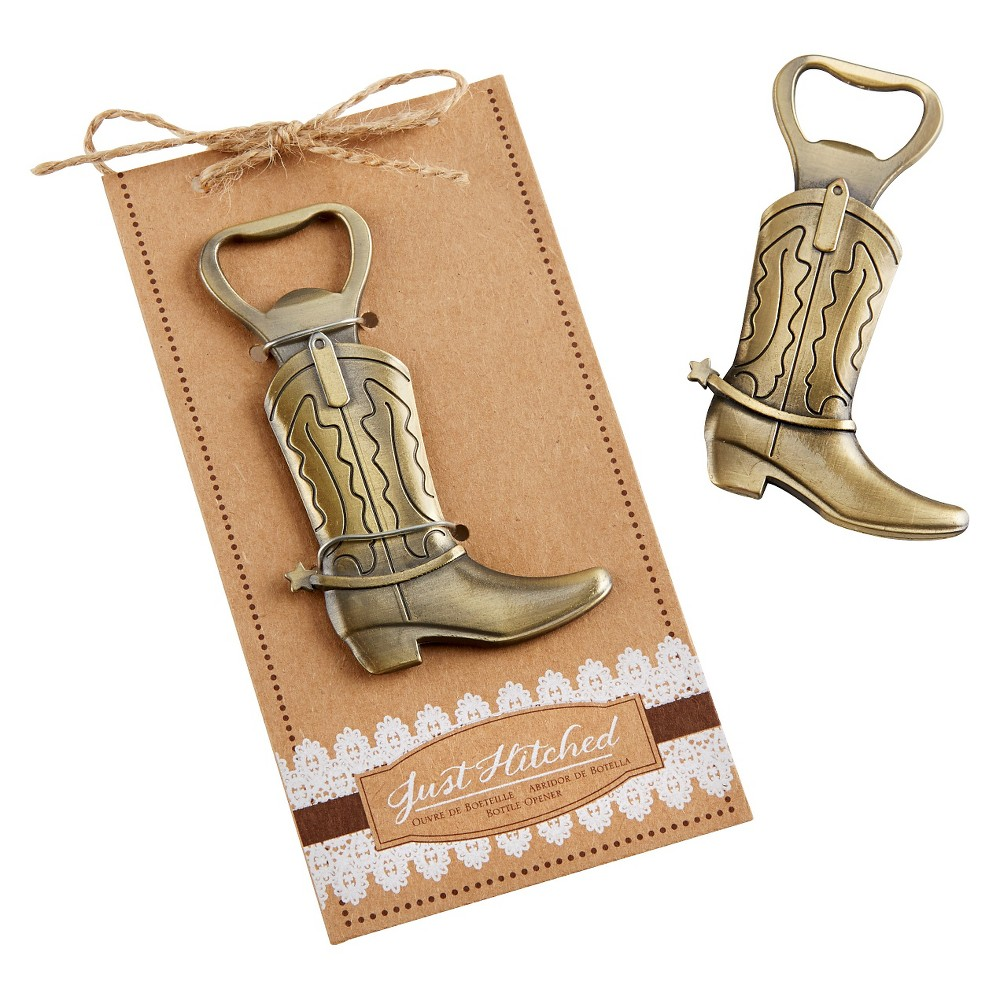 12ct Kate Aspen Just Hitched Cowboy Boot Bottle Opener, Grey