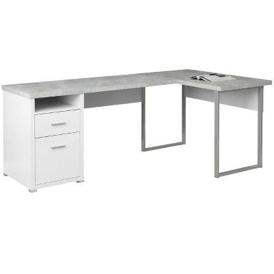 "Monarch Specialties 80"" Modern Home Office Computer Desk with Drawers, White"