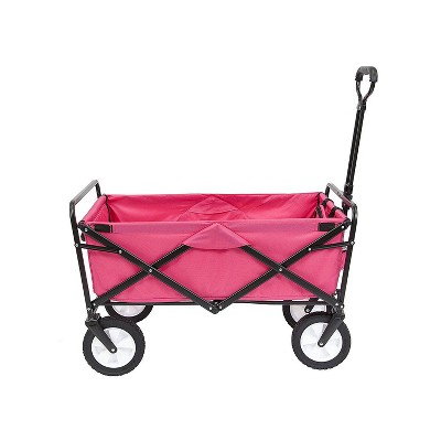 Mac Sports Heavy Duty Steel Frame Collapsible Folding 150 Pound Capacity Outdoor Camping Garden Utility Wagon Yard Cart, Pink