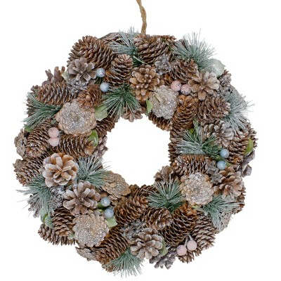 "Northlight 13"" Green and Brown Glitter Pinecones and Berries Christmas Wreath"