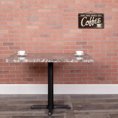 "Flash Furniture 24"" x 30"" Rectangular Gray Marble Laminate Table Top"