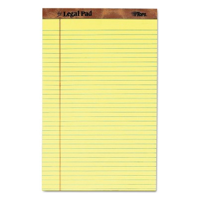 50 Sheets 8 1//2 x 14 Canary Dozen Legal//Wide TOPS 7572 the Legal Pad Ruled Perf Pad