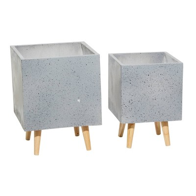 Set of 2 Square Contemporary Wood Planters - Olivia & May
