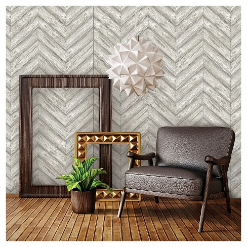 Tempaper Herringbone Removable Wallpaper Ash