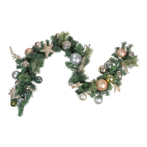 "Northlight 6' X 12"" Unlit Rose Gold/Silver Ball Ornament Pine Artificial Christmas Garland : Target"