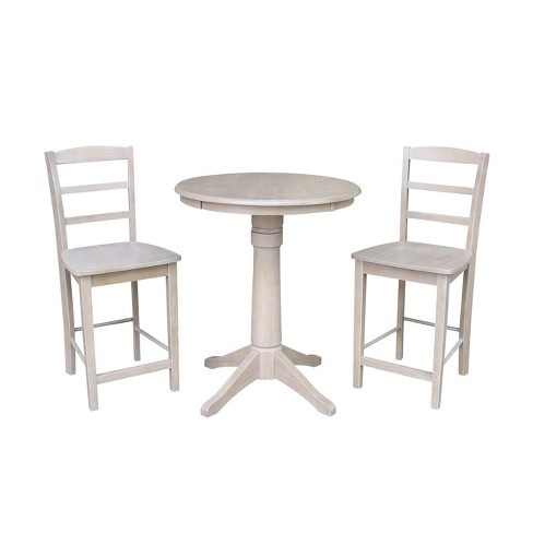 "30"" X 30"" Solid Wood Round Pedestal Counter Height Table and 2 Madrid Stools Washed Gray Taupe (3pc Set) - International Concepts - image 1 of 4"