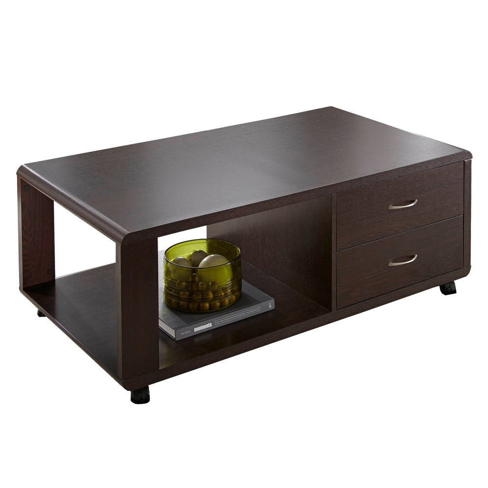 Eliza Cocktail Table with Casters Espresso Brown - Steve Silver, Grey