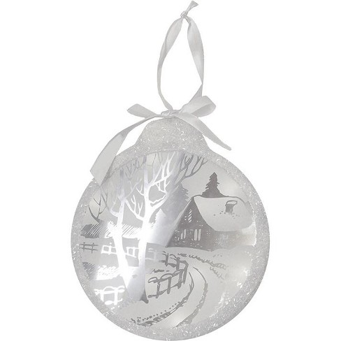 """Northlight 8"""" Pre-Lit LED Sparkle Winter Cottage Scene Round Christmas Ornament - White - image 1 of 2"""