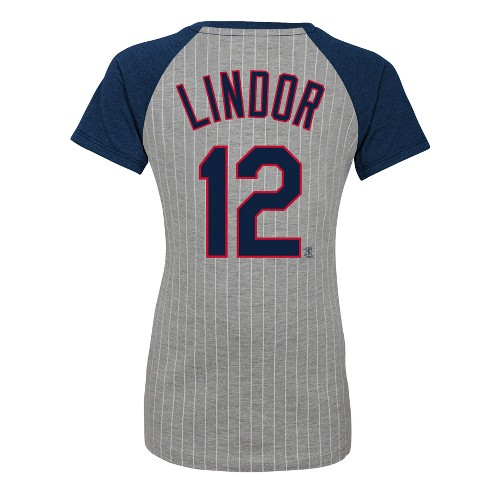 huge discount 3d5f0 25abd Cleveland Indians Girls' Short Sleeve Pinstriped V-Neck Francisco Lindor  Jersey T-Shirt - Gray L