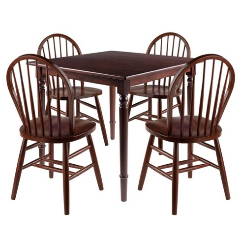 5pc Mornay Dining Table With Windsor Chairs Walnut Winsome Target