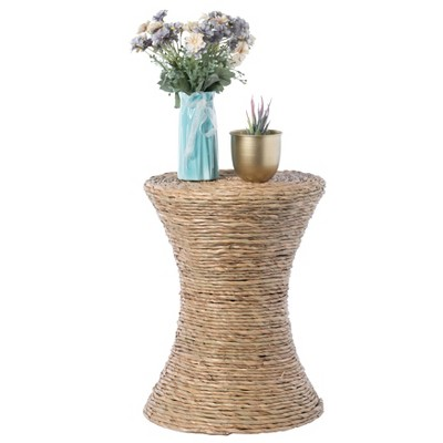 Vintiquewise Decorative Round Wicker Side Table Hourglass Shape Accent Coffee Table