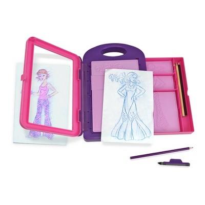 Melissa & Doug Fashion Design Art Activity Kit - 9 Double-Sided Rubbing Plates, 4 Pencils, Crayon