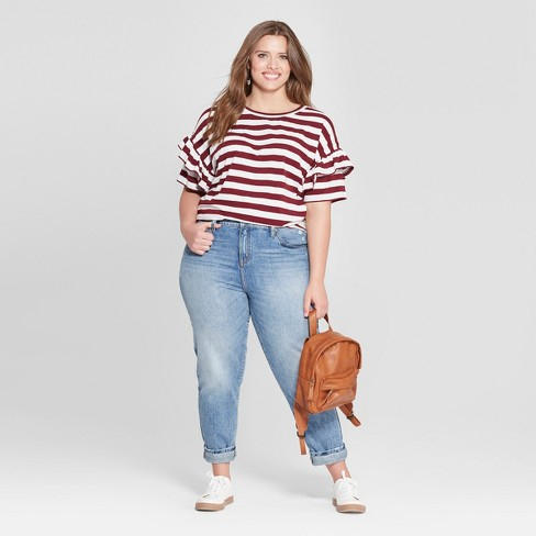 12d2a4ca Women's Plus Size Striped Ruffle Short Sleeve T-Shirt - Universal Thread™  Red/White. Shop all Universal Thread