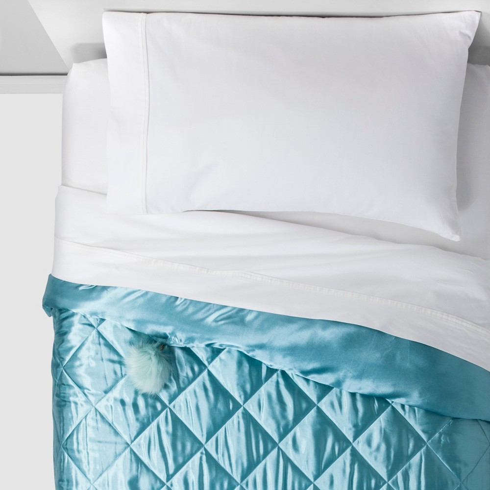 Image of Twin Quilt Teal - Quiltie By Hi, Blue
