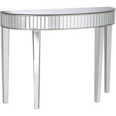 """Studio 55D Liska 39 1/2"""" Wide Mirrored Demilune Console Table"""