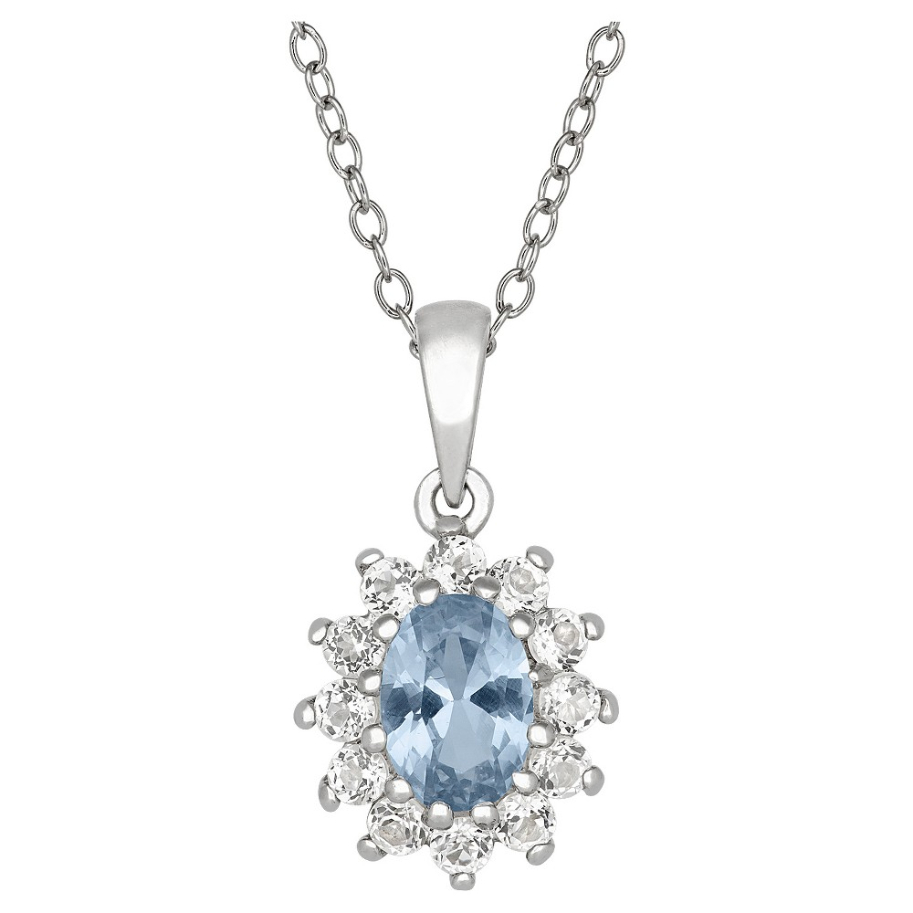 Oval-Cut Aquamarine Flower Pendant in Sterling Silver, Girl's