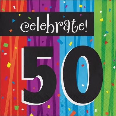 48ct Milestone Celebrations Happy 50th Birthday Napkins