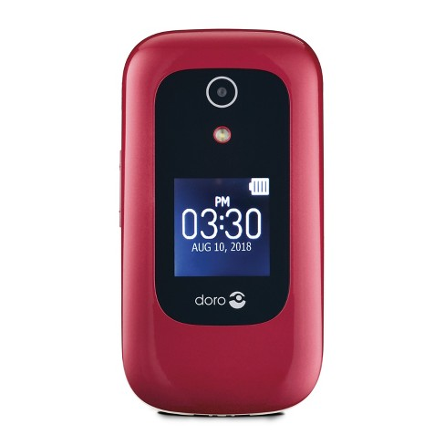 Consumer Cellular Postpaid Doro 7050 (4GB) Flip Phone - Burgundy