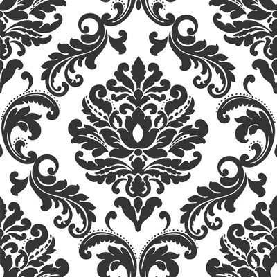 NuWallpaper Damask Peel & Stick Wallpaper Black/White
