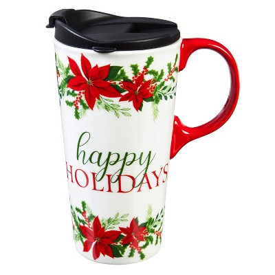 Evergreen Cypress Home Ceramic Travel Cup 17oz. ,withbox Happy Holidays