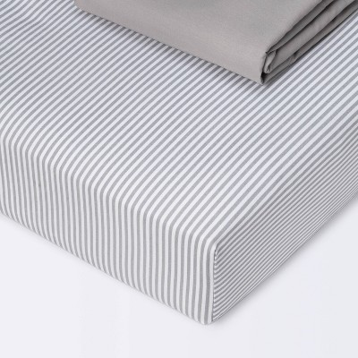 Fitted Crib Sheet - Cloud Island™ Stripe/Gray 2pk