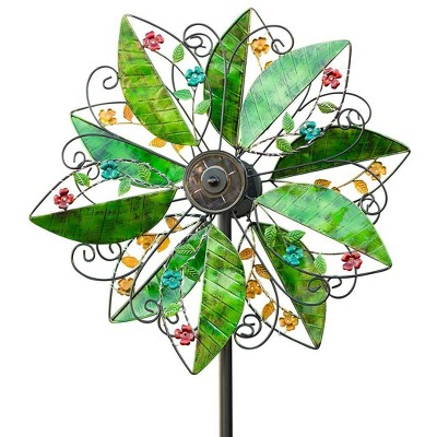 Wind & Weather Metal Leaf and Flower Wind Spinner with Solar Lights