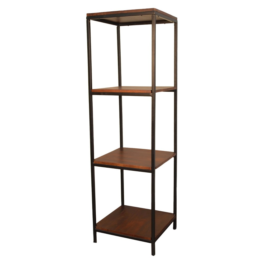 60 Flynn Square Bookcase Chestnut/Black (Brown/Black) - Carolina Chair and Table