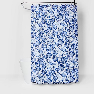 Over Sized Floral Print Shower Curtain Blue - Opalhouse™