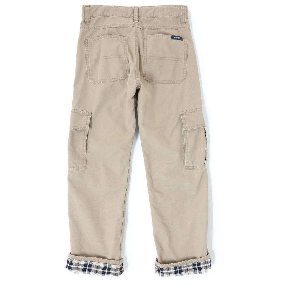 Wrangler Originals Boys' Flannel Lined Ripstop Cargo Pants Khaki (Green) 12