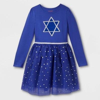 Girls' Hanukkah Star of David Long Sleeve Dress - Cat & Jack™ Blue