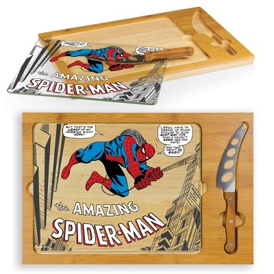 Marvel Spider-Man Icon Glass Top Wood Serving Tray with Knife Set by Picnic Time