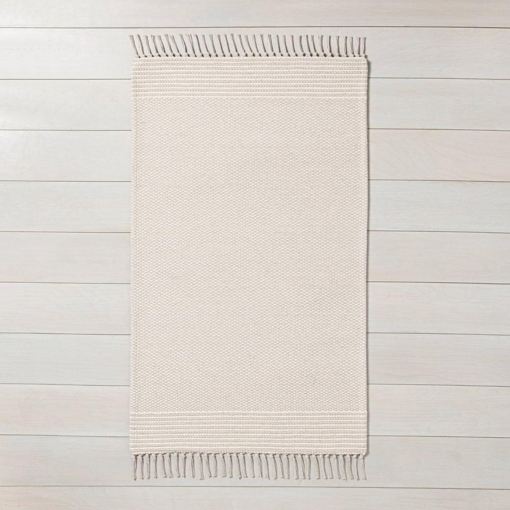 x 3' Textured Border Stripe Area Rug Twilight Taupe / Sour Cream