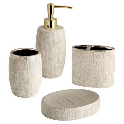 4pc Shimmer Lotion Pump/Toothbrush Holder/Tumbler/Soap Dish Set Gold - Allure Home Creations