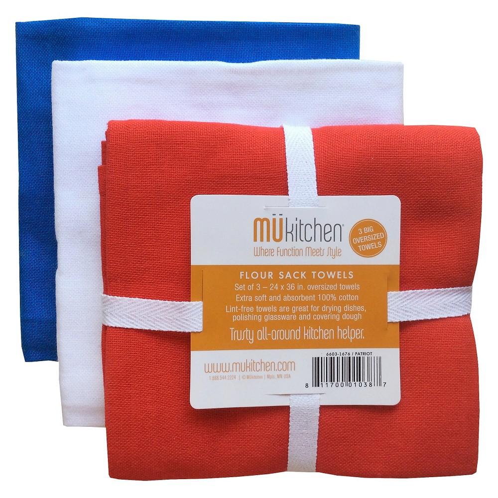 "Image of ""Patriot Flour Sack Dish Towel Set (24""""X36"""") Red/White/Blue - Mu Kitchen"""