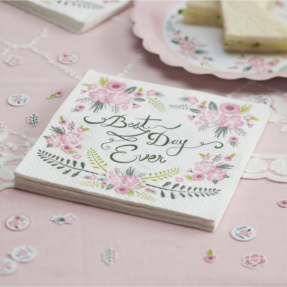 Image of 20ct Ginger Ray Napkins Best Day Ever Floral Fancy, Multi-Colored