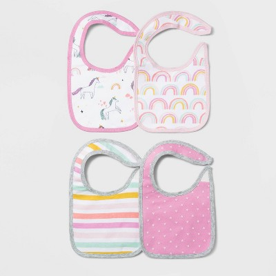 Baby Girls' 4pk Unicorn Adventure Bib Set - Cloud Island™ Pink