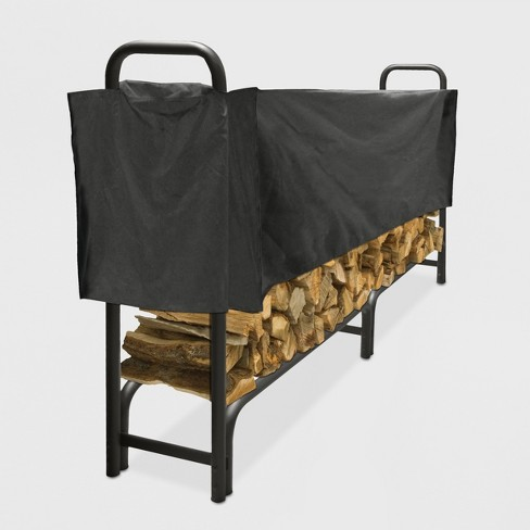 Pleasant Hearth 8' Heavy Duty Log Rack with Half Cover - Black - image 1 of 2