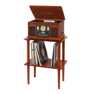 Victrola Navigator Bluetooth Record Player with Matching Record Stand (Mahogany)