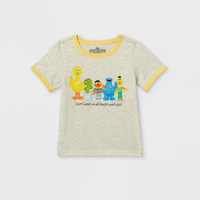 Toddler Boys' Sesame Street Love Short Sleeve Graphic T-Shirt - Cream